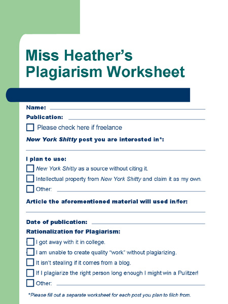 NYS Plagiarism Worksheet