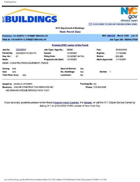156 N. 12 Street Demo Permit