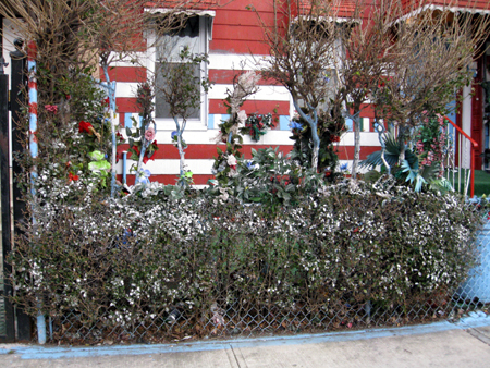 Spray painted shrubbery