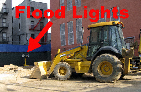 Earth mover and flood lights